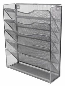 Easypag 6 Tier Mesh Wall Hanging File Holder Organizer Magzine Rack Silver