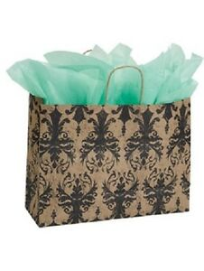 Paper Shopping Bags 100 Black Tan Damask Gift 16 X 6 X 12 High Kraft Bag