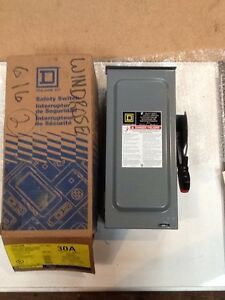 Square D Heavy Duty Disconnect Switch H361 Rb 30amp600vac 600vdc