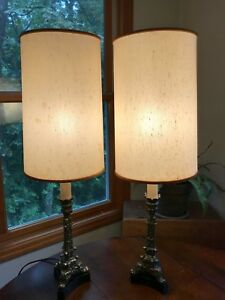Vintage Brass Table Lamp Pair Mid Century Column Lamps Westwood Industries Ny Ny