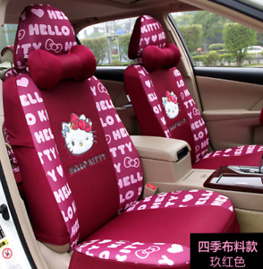 Princess Cute Hello Kitty Car Seat Covers Wine Red Full Set