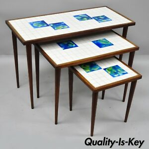 3 Mid Century Modern Nesting Tile Top Side Tables Blue Green Tiles Danish Teak