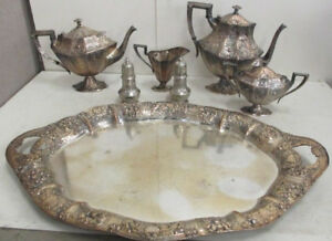 Barbour Bros Co Silver Plate Victorian Coffee Tea 7 Piece Service Set Stunning