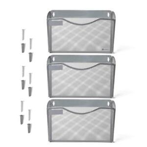 Kinwell 3 Pack Office Hanging Mesh Letter size Wall File Holder Organizer Single