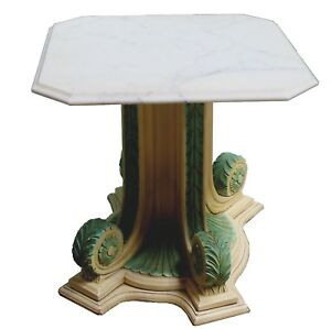 Vintage Grecian Style Pedestal Marble Top Side Table