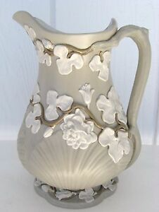 Villeroy Boch Pitcher Salt Glaze Pottery Floral Vines Antique Victorian German