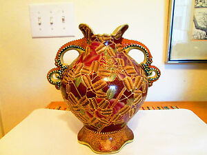Antique Satsuma Lrg Vase 20th Century Embossed Gold And Beading Relief