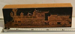 Vintage Steam Train Locomotive Letterpress Print Block