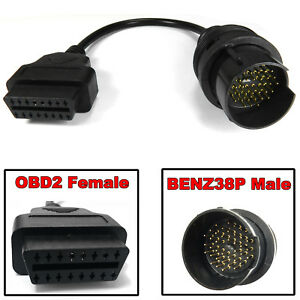 Obdii Obd2 16pin To 38 Pin Male Adaptor Diagnostic Lead Cable For Mercedes Benz