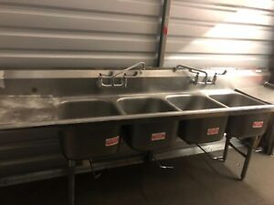 Commercial 4 Compartment Kitchen Sink W 18 Drainboards Approximately 9 1 2 Wide