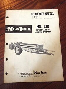 New Idea Operators Manual For No 210 Power Take off Manure Spreader s 205