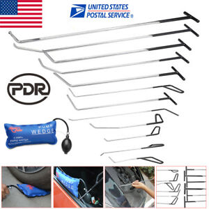 13pc Pdr Tools Push Rods Paintless Dent Repair Puller Whale Tail Set Pump Wedge