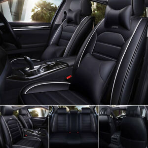 Us 5d Pu Leather Car Suv Seat Covers Universal Front Rear Deluxe Auto Cushion Bk