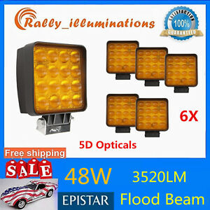 6x 4 48w Led Square Work Light Offroad Driving Flood Lamp 5d Lens Amber Warning