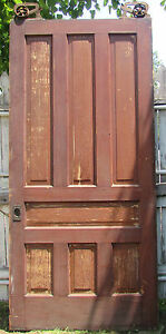 Late 1800 S Large 7 Panel Pine Pocket Door Ives Rollers Victorian Hardware
