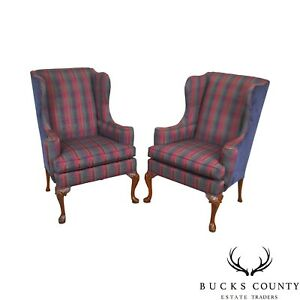 Hickory Chair Mahogany Frame Pair Of Queen Anne Wing Chairs