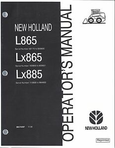 New Holland L865 Lx865 Lx885 Skid Loader Operator s Manual 86578397