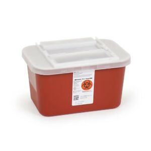 1 Gallon Sharps Container Multipurpose Biohazard Disposal Red Case Of 32