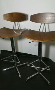 Pair Of Mid Century Modern Style Swivel Bentwood Chrome Bar Chairs Stools