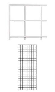 Set Of 2 Gridwall Panels 2 X 5 Grid Wall Display White Panel Steel Powder Coat
