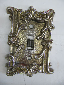 Vintage Mid Century Hollywood Regency Metal Decorative Switch Plate Cover Wscrew