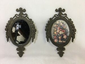 2 Small Vintage Ornate Brass Metal Oval Frames Floral Picture Mirror Italy