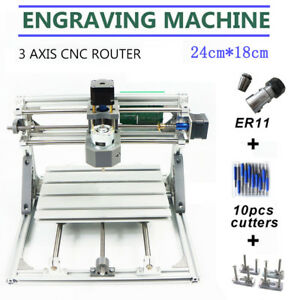 3axis Cnc Router 24x18cm Er11 Engraver Machine Diy Pcb Milling 775 Spindle Motor