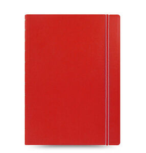 Red Filofax A4 Size Refillable Leather look Ruled Notebook Noted Diary Students