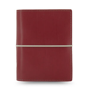 Filofax Pocket Size Domino Organiser Diary Notebook Dark Red Leather 027849 J2