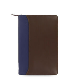 Filofax Nappa Personal Zip Organiser Planner Chocolate Blue Leather 025151 J2