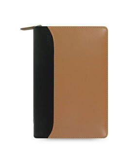 Filofax Nappa Personal Zip Organiser Planner Taupe Black Leather 025152 J2