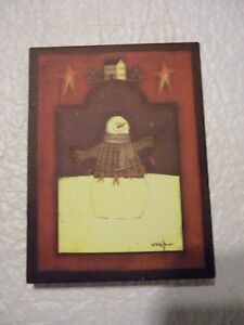 Primitive Christmas Decor Picture Billy Jacobs Snowman Folk Art 6 X 8 Inches