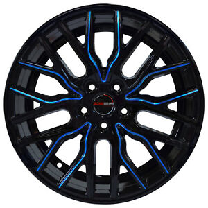 4 Wheels 18 Inch Black Blue Flare Rims Fits Ford Mustang Gt 2005 2018
