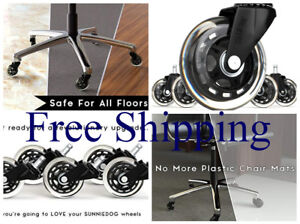 5 Pack Office Chair Wheels Replacement Rollerblade Style Rubber Casters Black 3