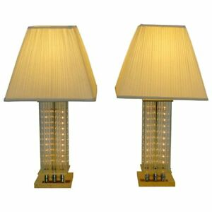 Mid Century Modern Pair Of Sciolari Brass Glass Rod Table Lamps 1970s Italian