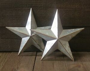 Lot Of 2 Galvanized Primitive Rusty Metal Stars 10 Country Tin Barn Americana