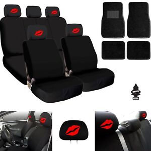 For Ford New Red Lips Car Truck Suv Seat Covers Headrest Floor Mats Full Set