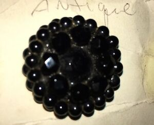 Antique Jet Faceted Glass Button New Old Stock 1