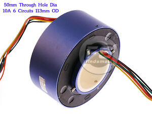 New 6wires 380v Ac dc 10a 50mm Dia Metal Capsule Conductors Slip Ring Blue