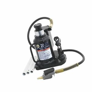 Omega 18209 Black Low Profile Hydraulic Welded Bottle Jack 20 Ton Capacity