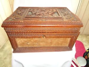 Vintage Tramp Art Hand Carved Jewelry Or Sewing Box