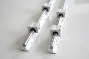 2x Sbr12 700mm Linear Rail Shaft Rod Fully Supported 4x Sbr12uu Bearings