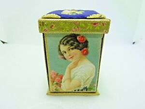 Rare Victorian Lithographed Puzzle Needle Sewing Tidy Case Box