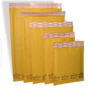 250pc s 0 6 5 X 10 Kraft Eco Lite Bubble Mailers Envelopes Self Seal