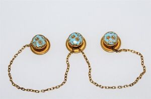 Antique 14k Women S Blue Enamel Set Of 3 Shirt Stud Buttons On A Chain