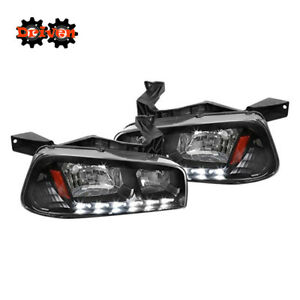 06 10 Dodge Charger 1pc Headlights Corner W led Drl Black Housing Amber