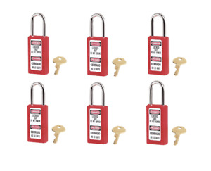 New Set Of 6 411kared Master Lock Red Bilingual Safety Padlocks Keyed Alike