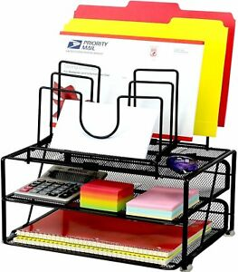Decobros Mesh Desk Organizer With Double Tray And 5 Stacking Sorter Sections