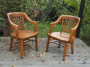 Pair Of Really Nice Vintage Solid Oak Desk Library Chairs