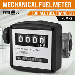 Fuel Meter Gas Mechanical Gallon Tracking Flow Sensor Measurement 4 Digit New